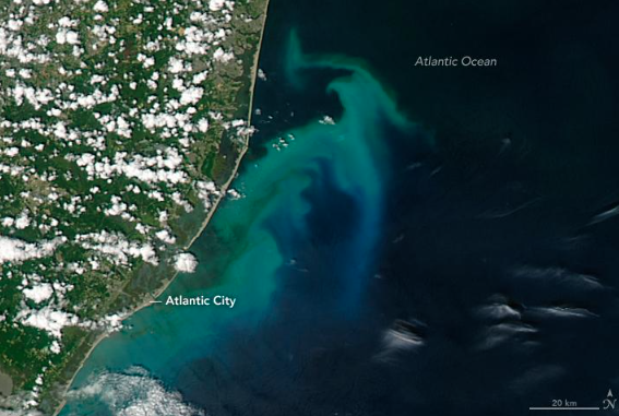 Image of Phytoplankton bloom from space, July 2016, taken by NASA